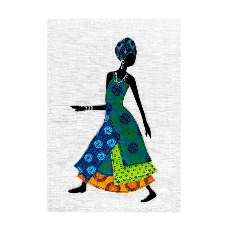 Shweshwe Dress - Textile Art - A4 Green