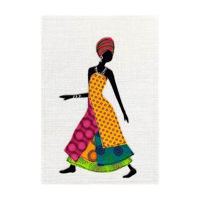Shweshwe Dress - Textile Art - A4 Yellow