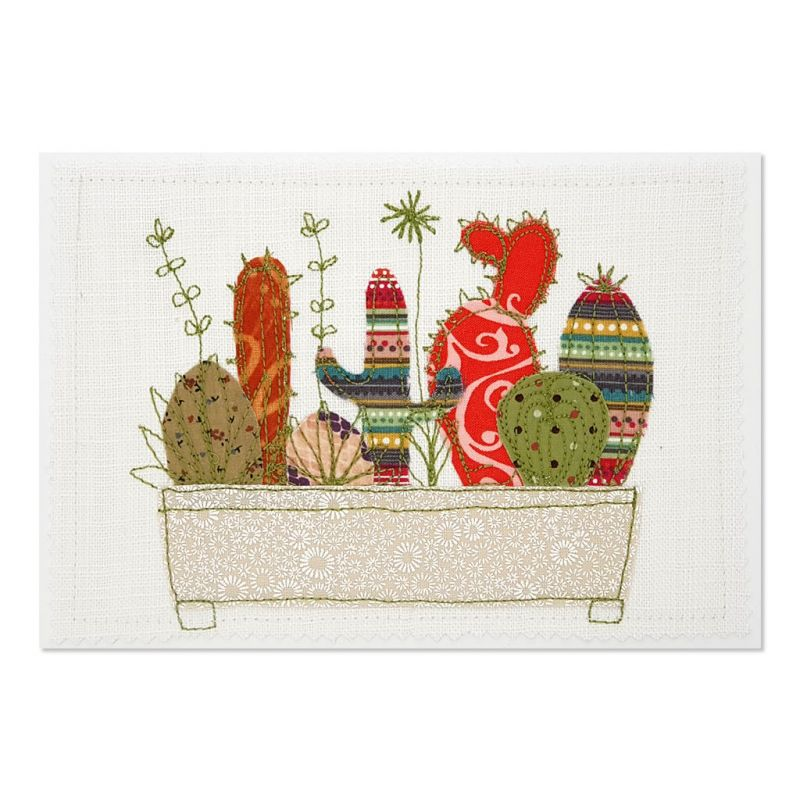 Succulents - Greeting Card - Textile Art - A5 set of 4