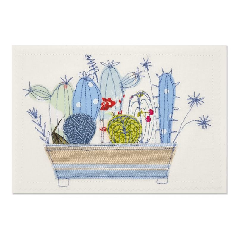 Succulents - Greeting Card - Textile Art - A5 single