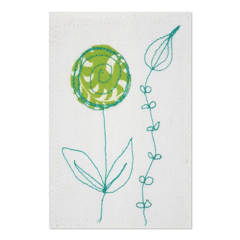 Flower - Greeting Card - Textile Art - A6 single