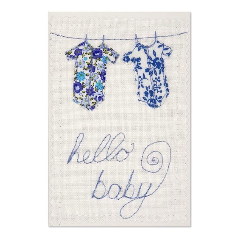 Welcome Baby - Greeting Card - Textile Art - A6 single
