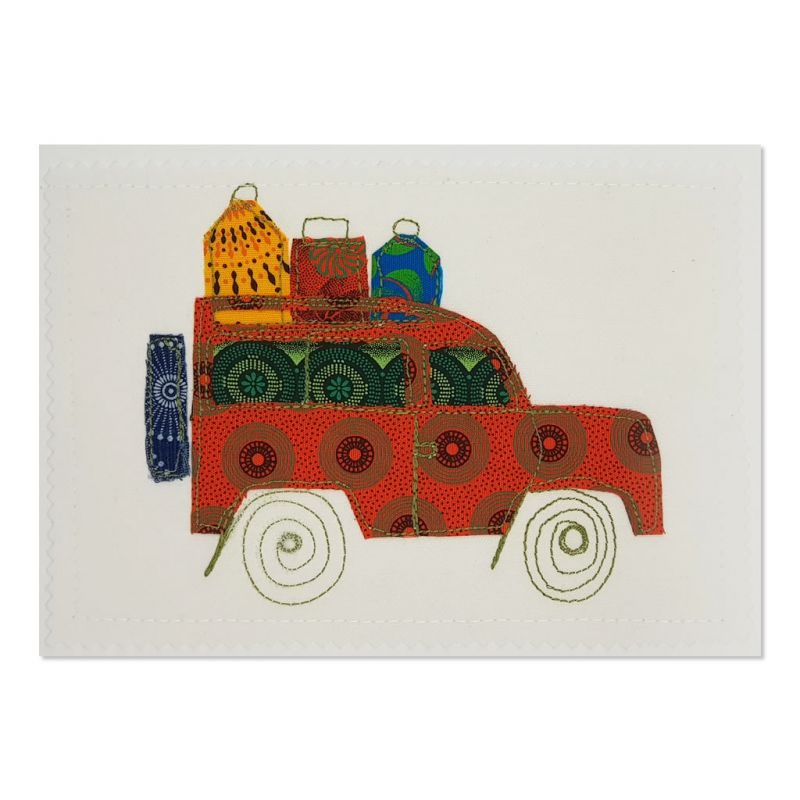 Landrover - Greetings Card - Textile Art - A5 set of 4