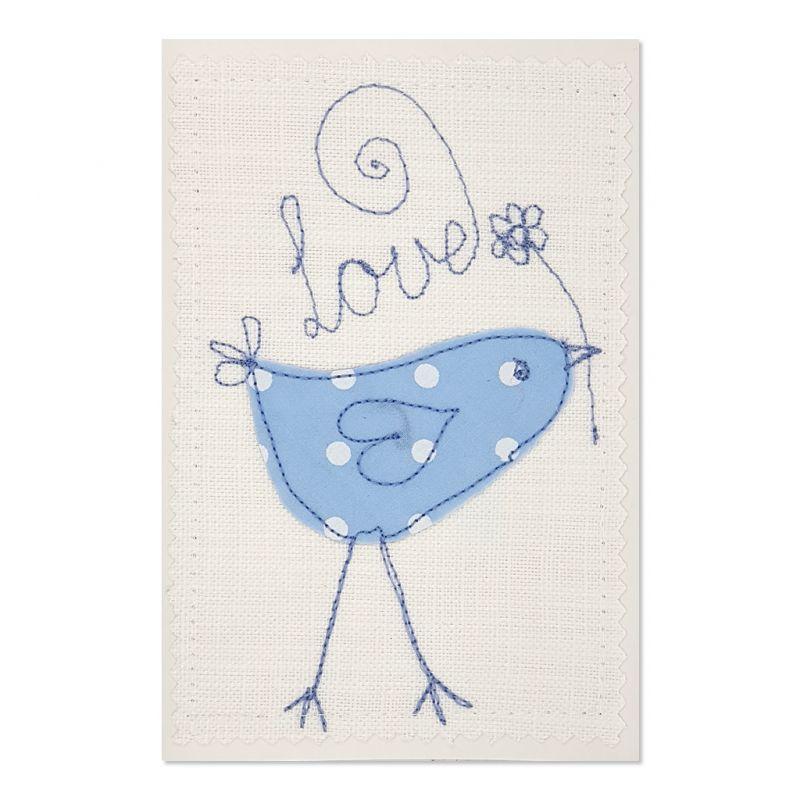 Love Bird - Greeting Card - Textile Art - A6 set of 4
