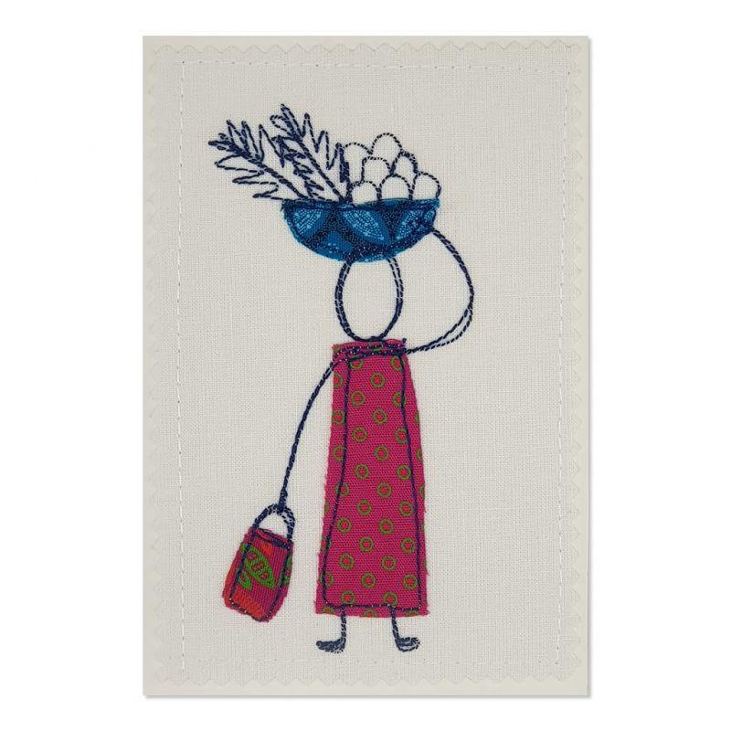 Home from the Market - Greeting Card - Textile Art - A6 set of 4