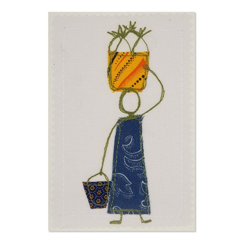 Home from the Market - Greeting Card - Textile Art - A6 single