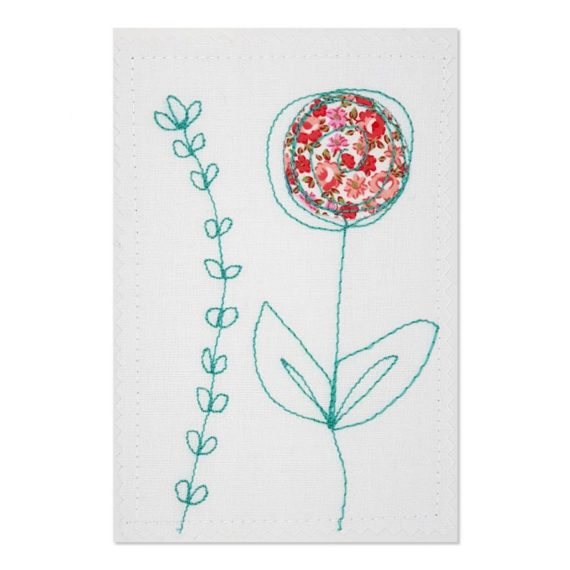 Flower - Greeting Card - Textile Art - A6 set of 4