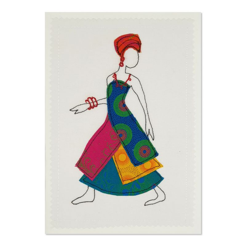Shweshwe Dress 01 - Greetings Card - A5