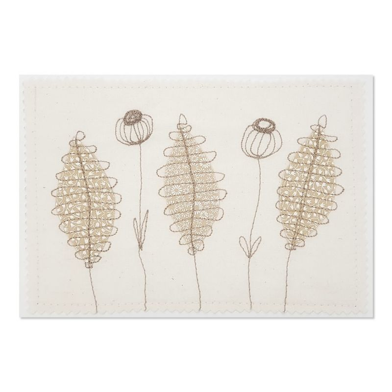 Flowers & Leaves - Greeting Card - Textile Art - A5 set of 4