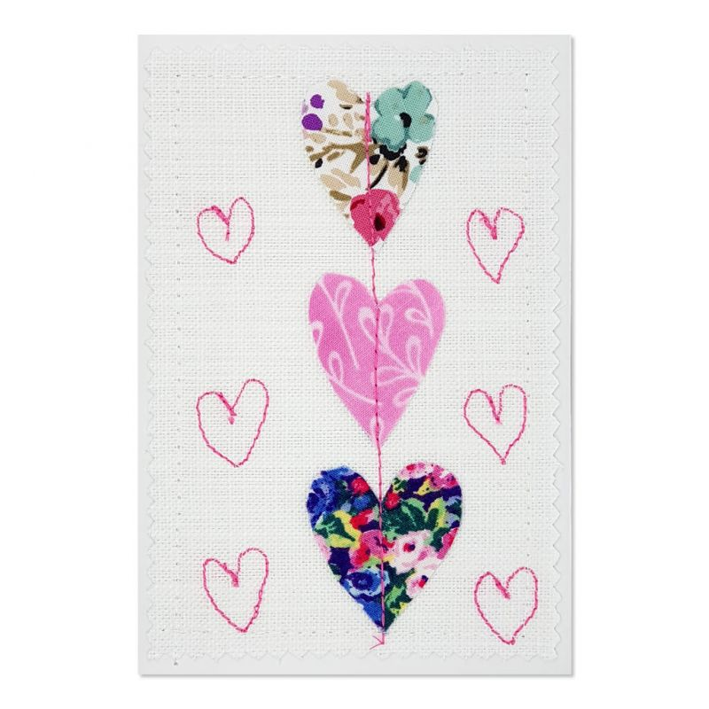 Hearts - Greeting Card - Textile Art - A6 set of 4