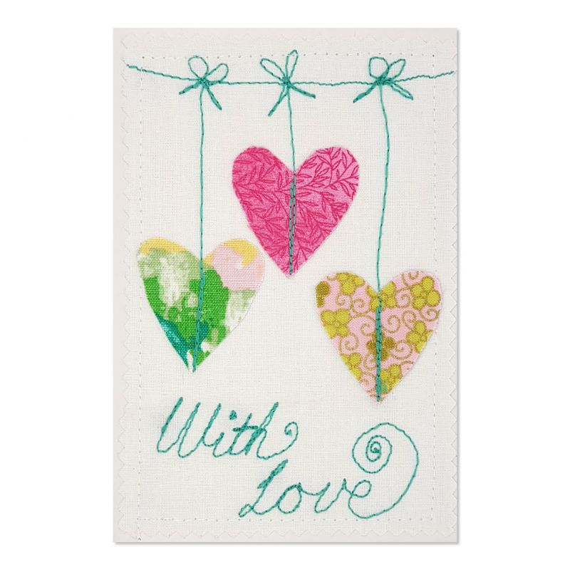 Hearts With Love - Greeting Card - Textile Art - A6 single