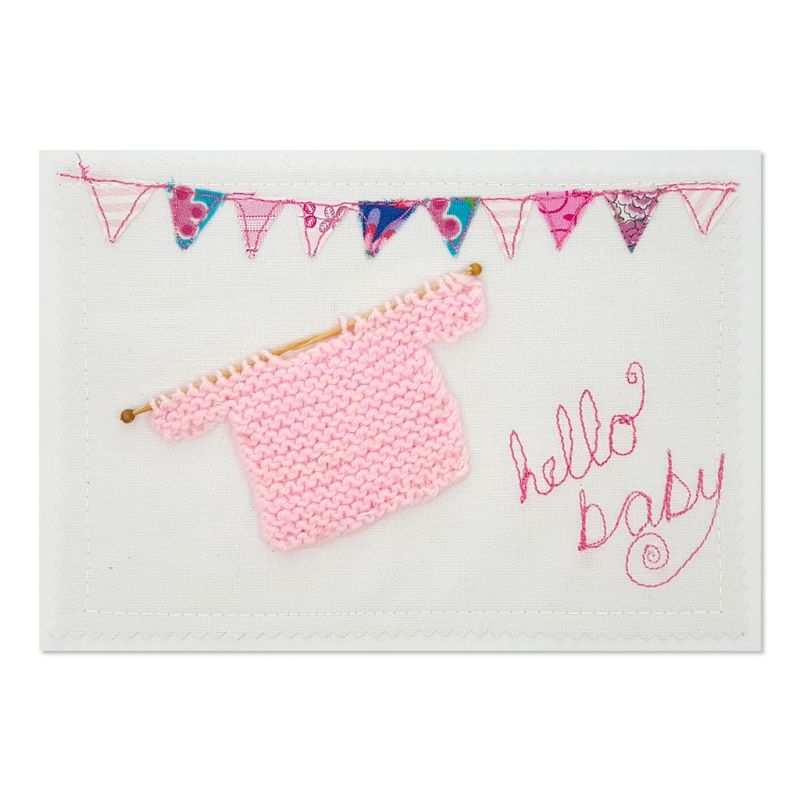 Welcome Baby - Pink - Greeting Card - Textile Art - A5 single