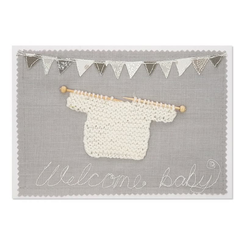Welcome Baby - White - Greeting Card - Textile Art - A5 single
