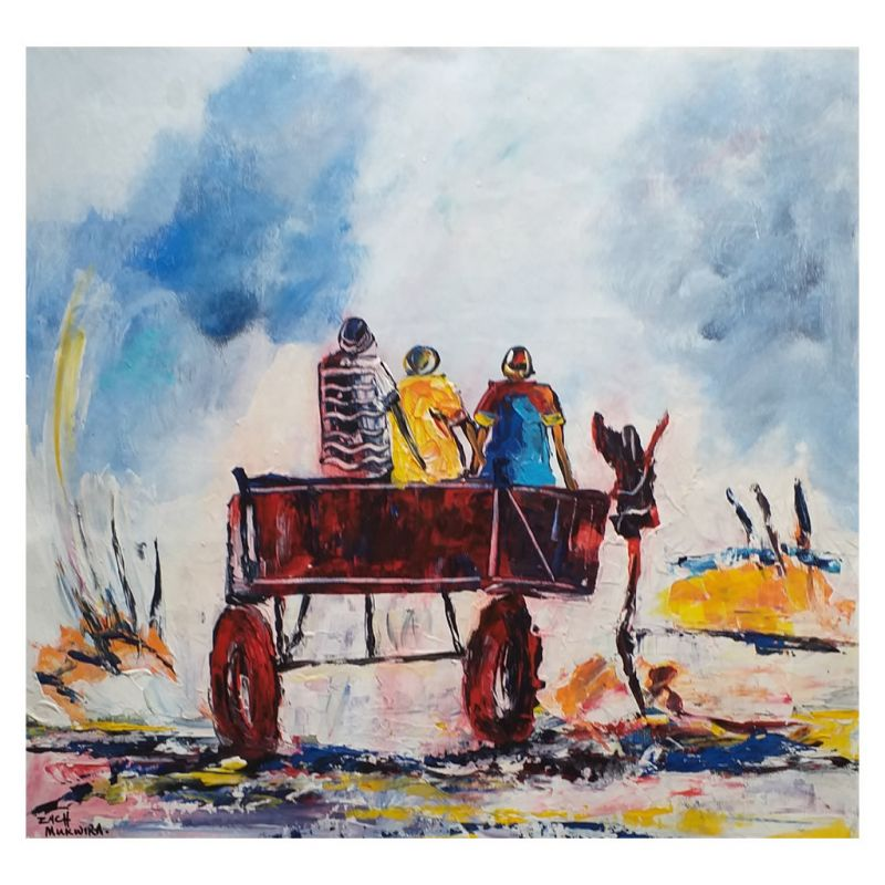 Painting - Acrylic on Canvas - Donkey Cart