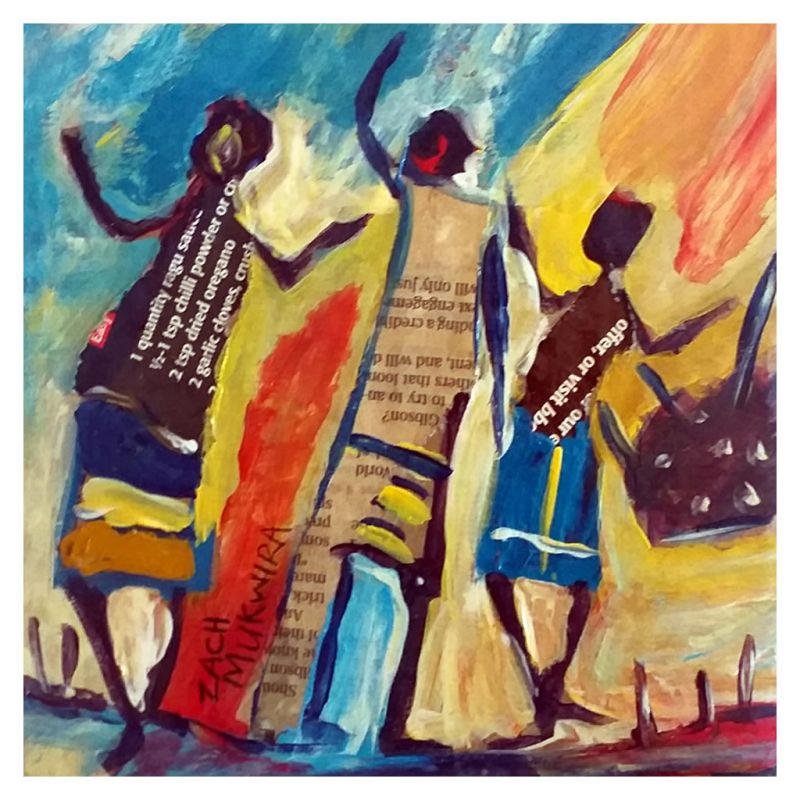Painting - Acrylic on Card - Children at Play