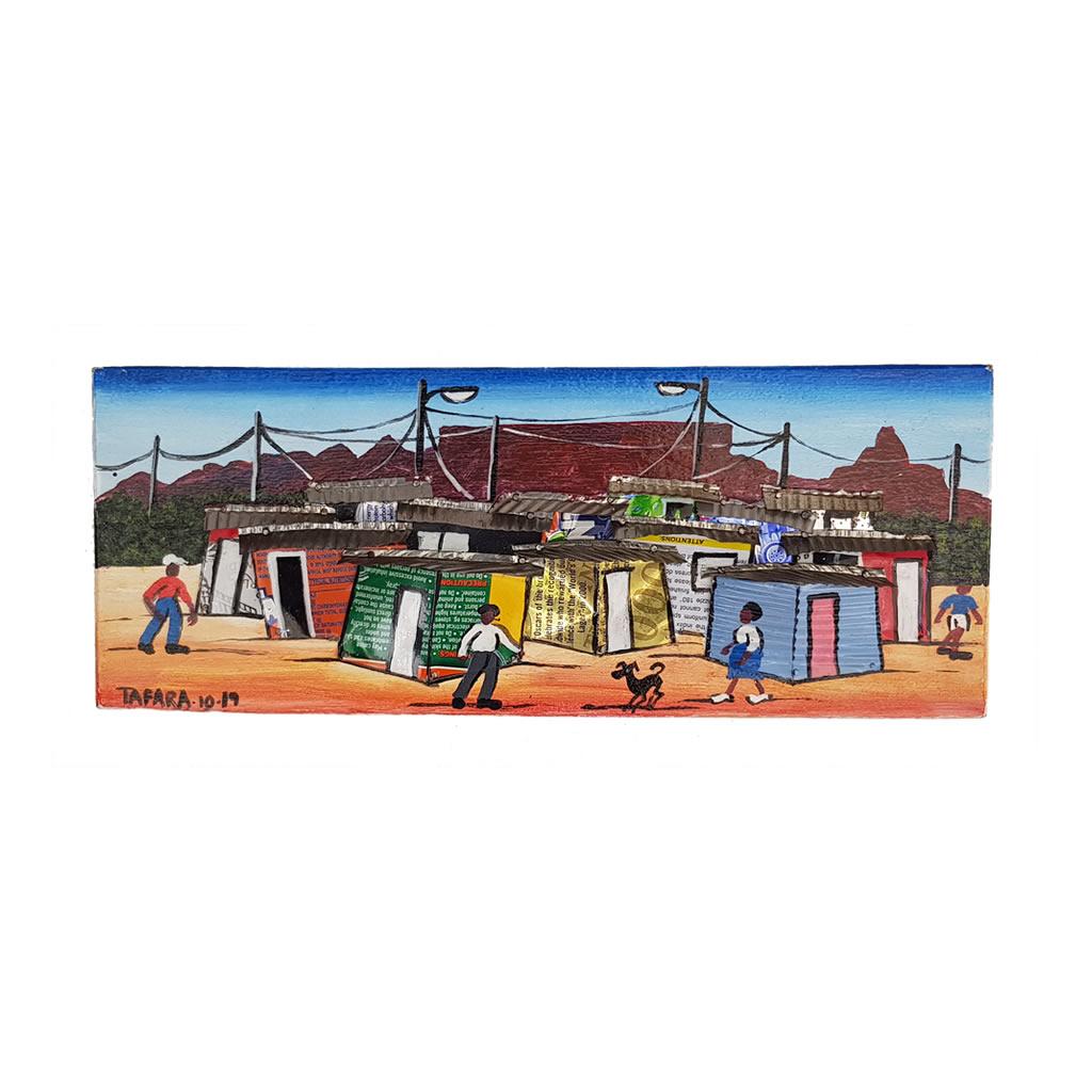 Painting - 3D Acrylic on Board - Township Scene Blue Sky - Medium