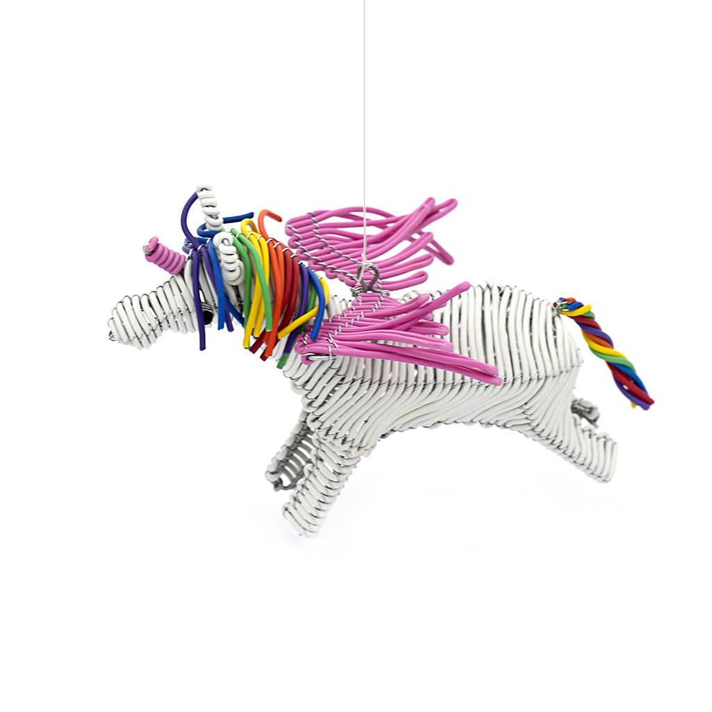 Flying Unicorn - Telephone Wire - White/Pink
