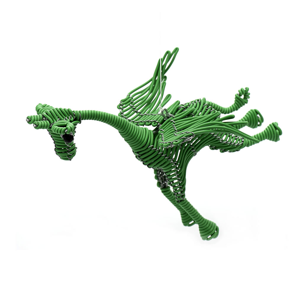 Flying Giraffe - Telephone Wire - Green