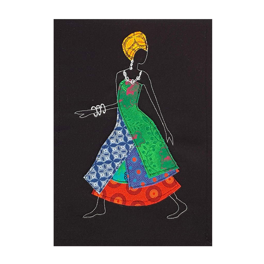Shweshwe Dress - Textile Art - A4 Black