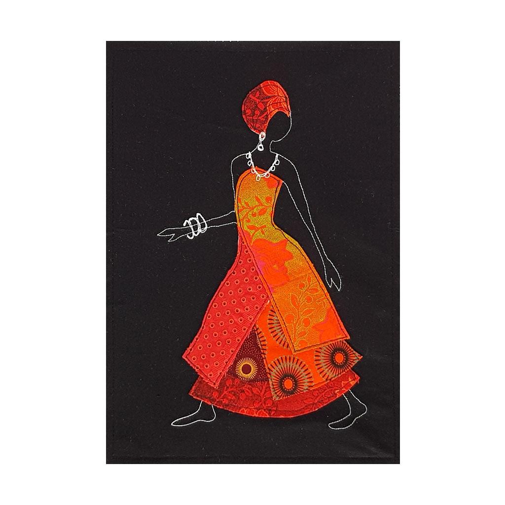 Shweshwe Dress - Textile Art - A4 Orange/Black