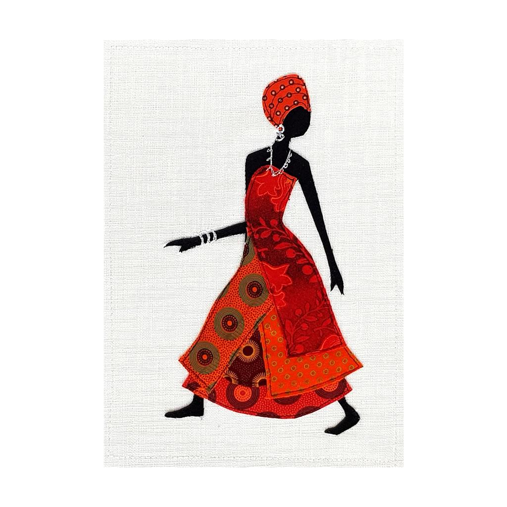 Shweshwe Dress - Textile Art - A4 Orange/White