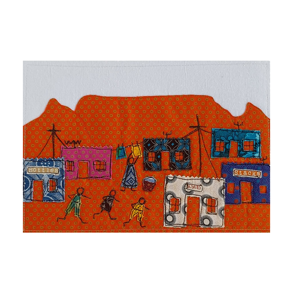 Table Mountain - Textile Art A4 - Orange