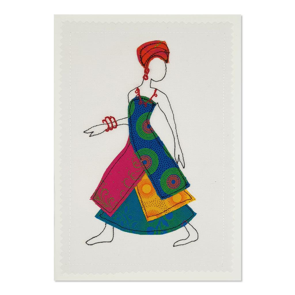 Shweshwe Dress 01 - Greetings Card - A5