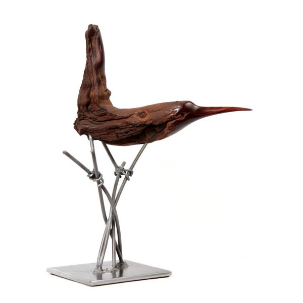 Bird on Grasses in Mopane Wood and Wire - Small