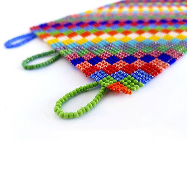 Bracelet - Woven Bead - Wide Bright Squares