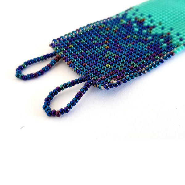 Bracelet - Woven Bead - Narrow Shaded Blue
